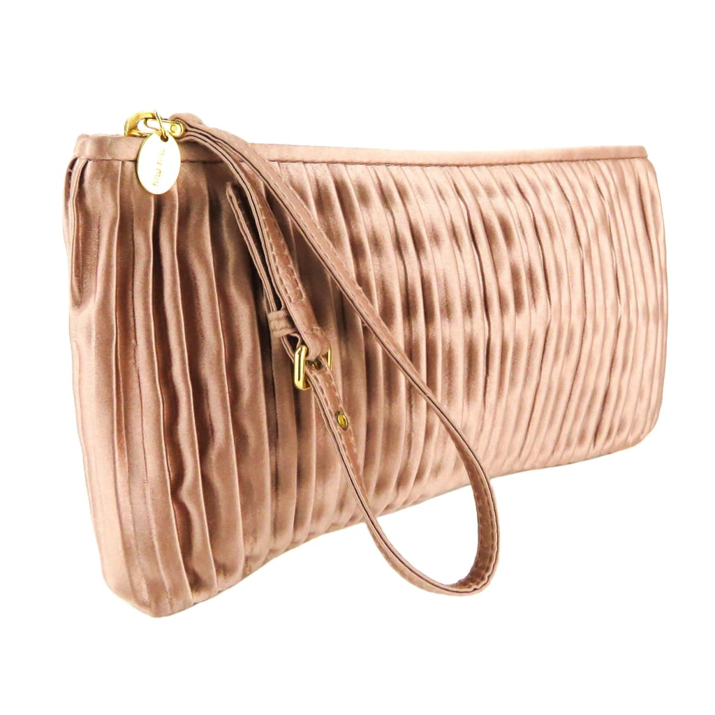 Miu Miu Pink Satin Dusty Rose Pleated Clutch Wristlet Bag - Wristlet