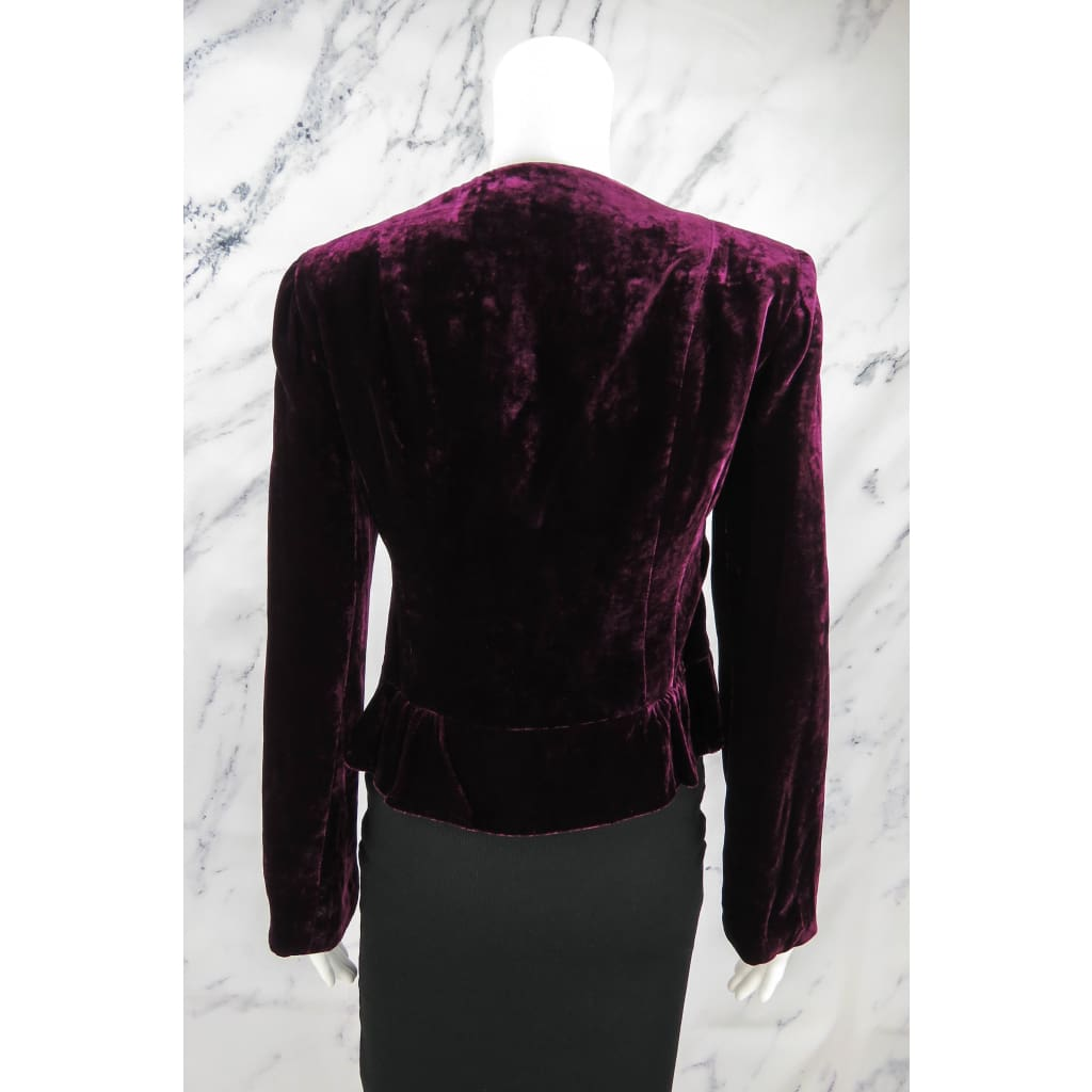 Nanette Lepore Plum Purple Velvet Size 2 Jeweled Bib Jacket - Jacket