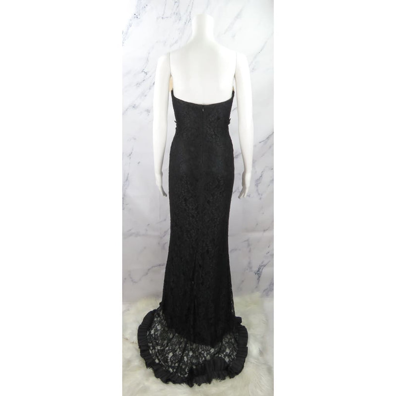 Nicole Bakti Black and Ivory Lace Nylon Small Strapless Bow Dress - Dresses