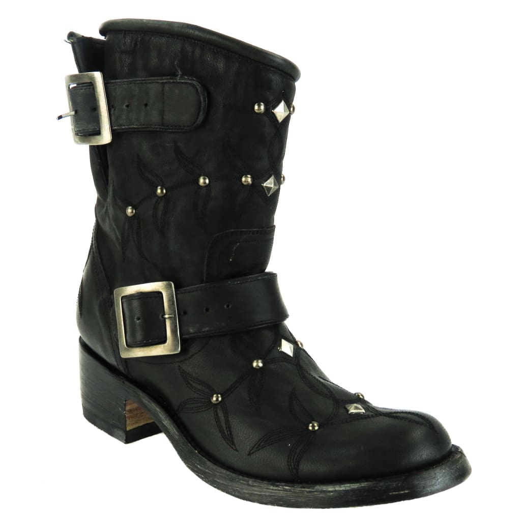 Old Gringo Black Distressed Leather Studded Ankle Boots - Bootie