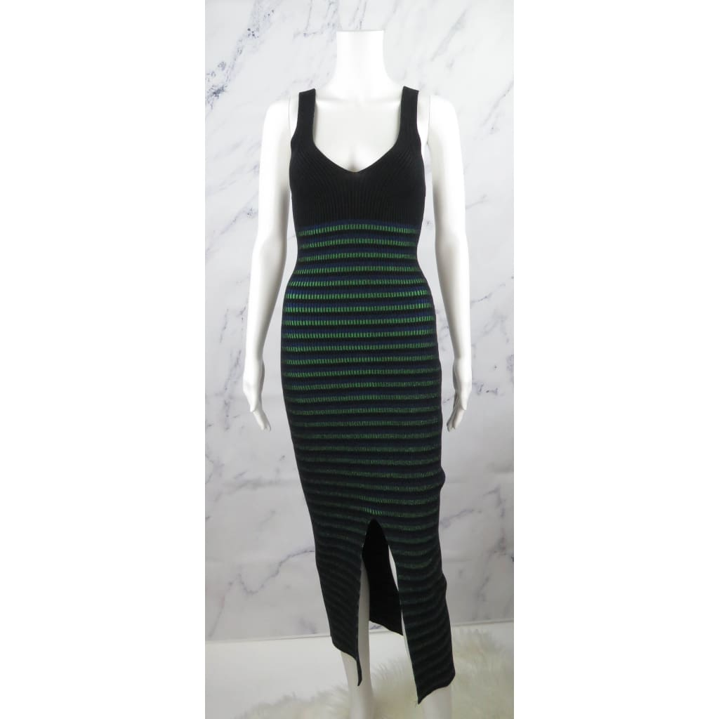 Opening Ceremony Black Knit Multicolor Striped Ribbed Small Maxi Dress - Dresses