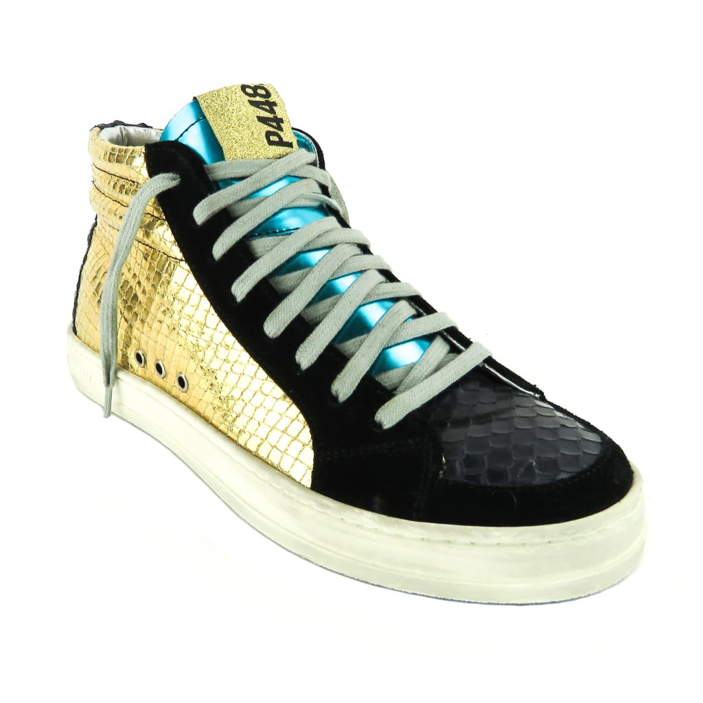 P448 Gold and Black Suede Embossed Lace Up Queens Mid Sneakers - Sneakers