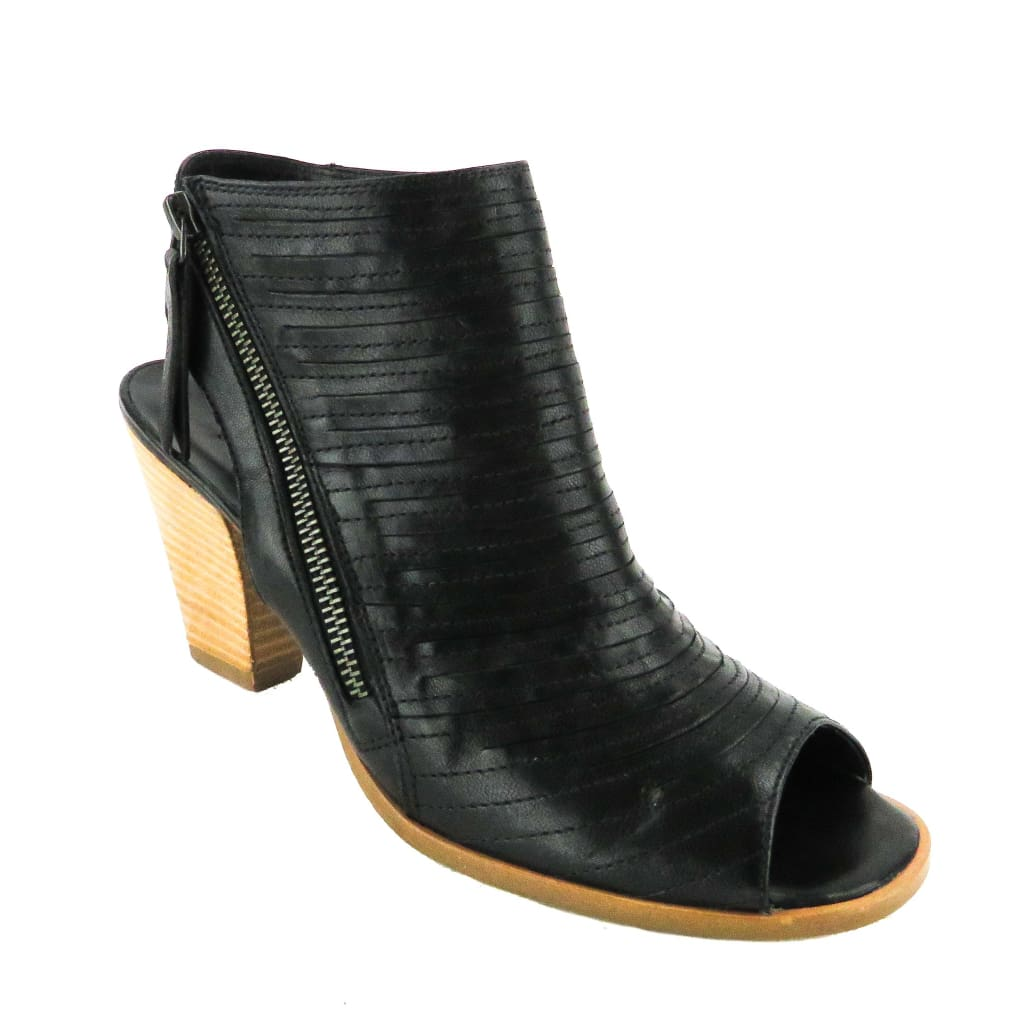 Paul Green Black Leather Cayenne Heel Sandal Booties - Bootie