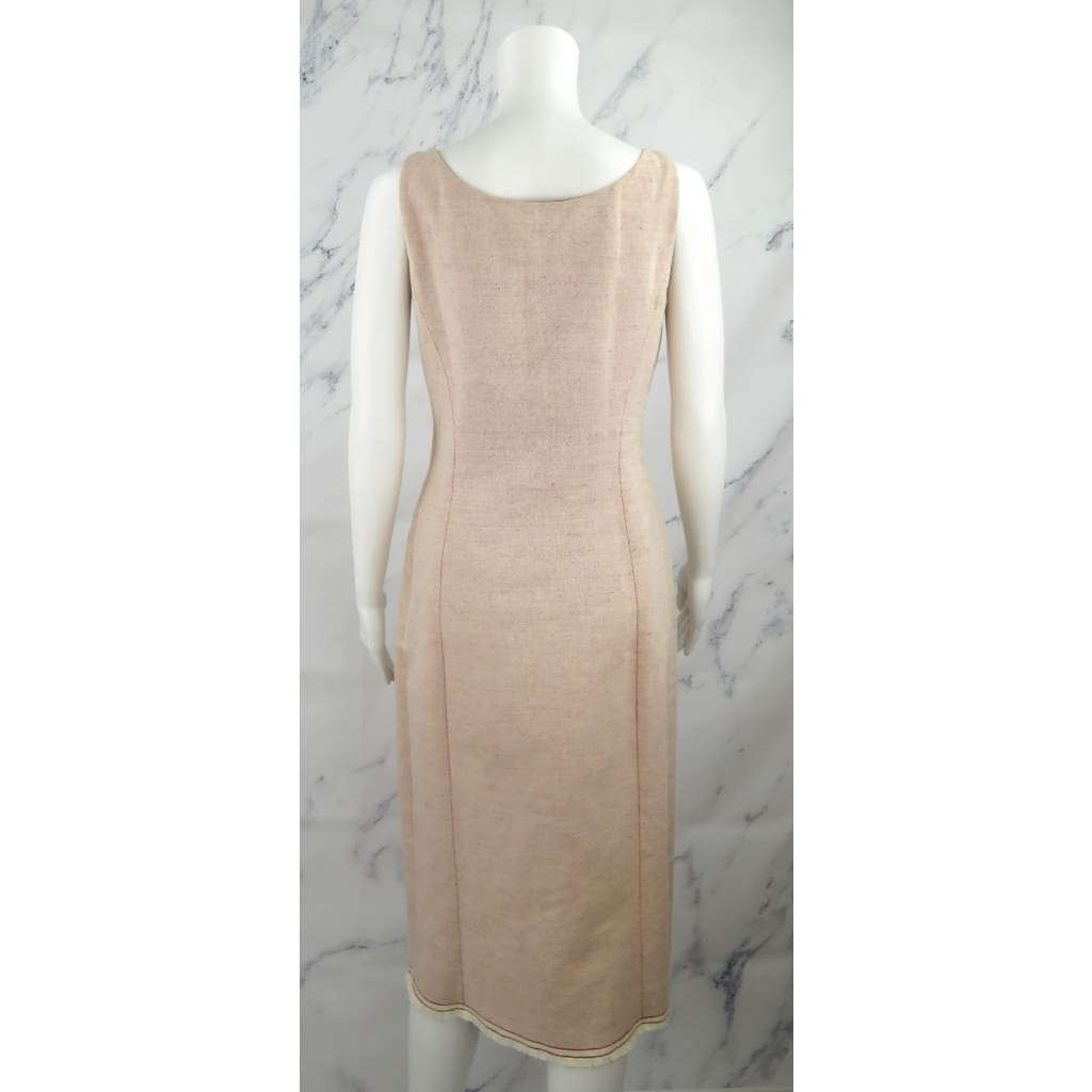 Prada Beige and Red Cotton Size 44 Sleeveless Dress - Dresses