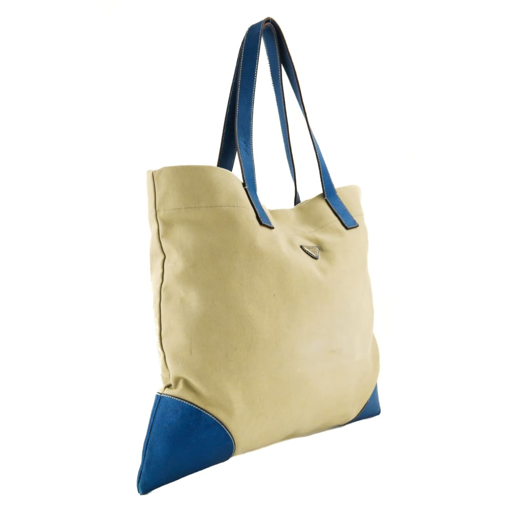 Prada Beige Canvas Blue Leather Shopping Tote Bag - Totes