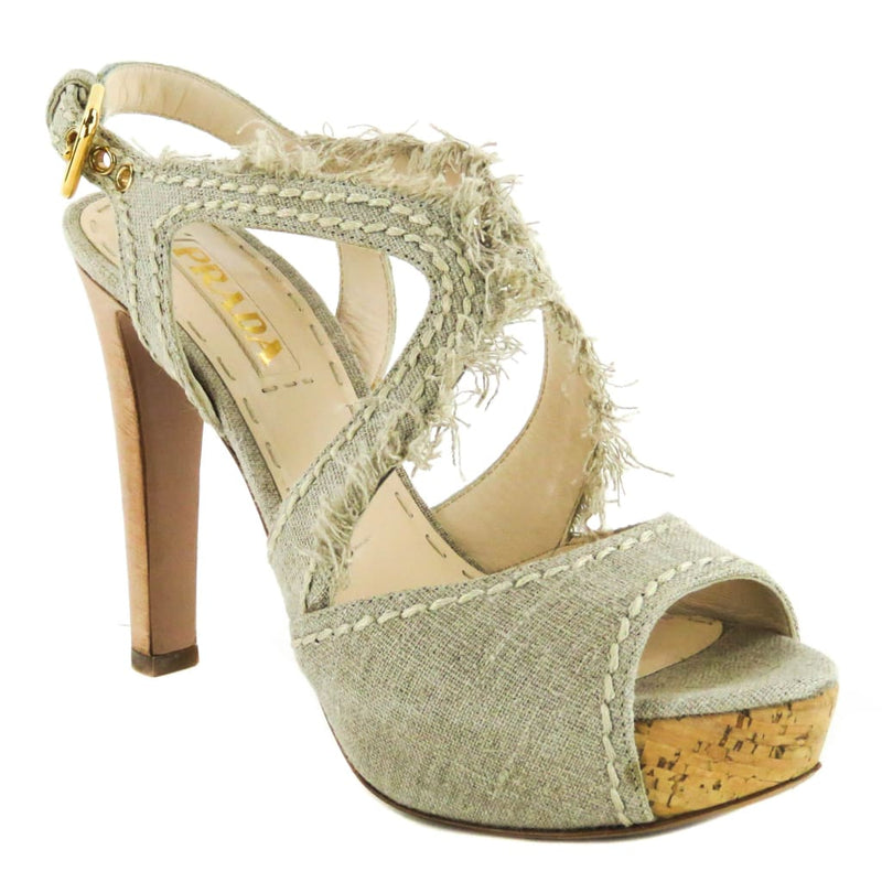 Prada Beige Canvas Frayed Trim Open Toe Sandal Heels - Heels