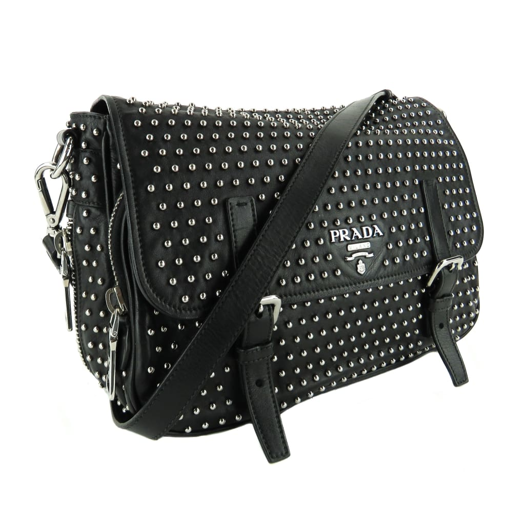 Prada Black Leather Studded Messenger Shoulder Bag - Messengers/Diaper Bags