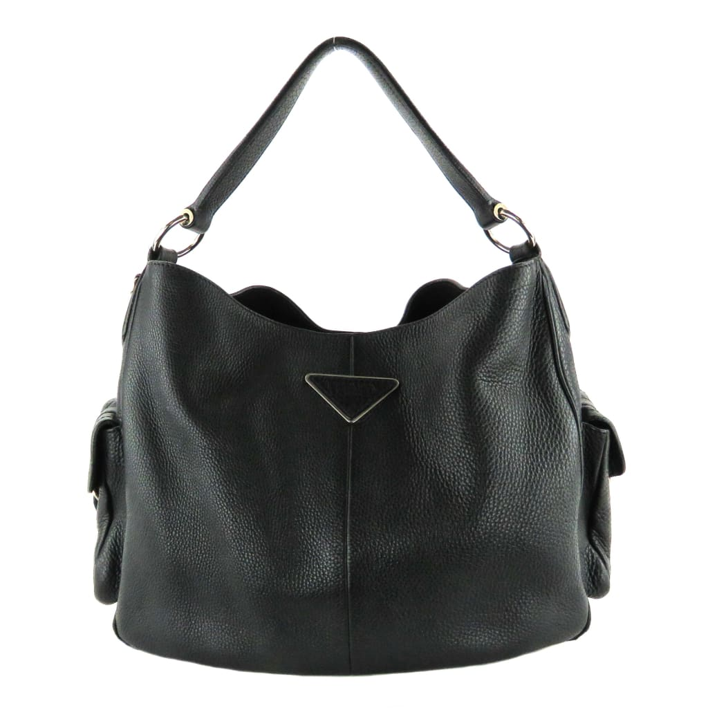 Prada Black Leather Vitello Daino Side Pockets Hobo Shoulder Bag - Shoulder Bags