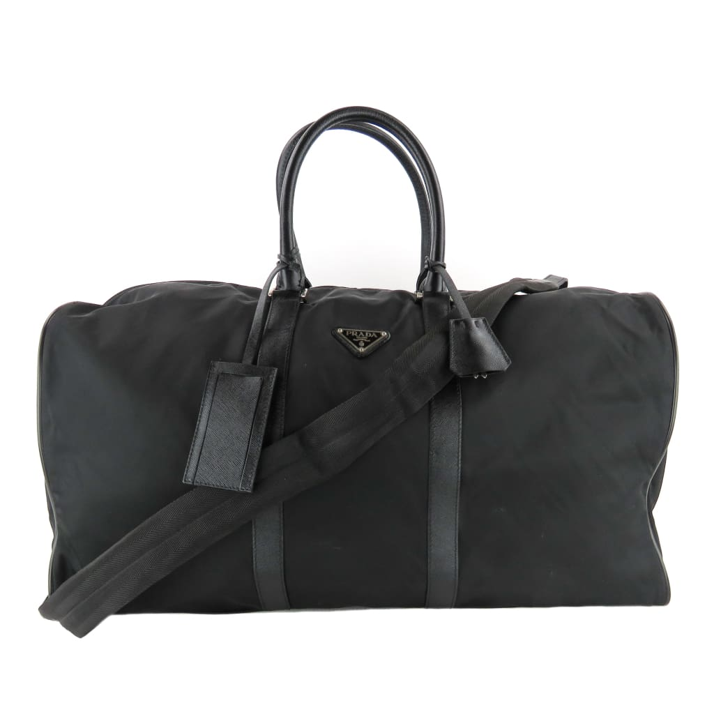 Prada Black Nylon Saffiano Leather Trim Duffle Luggage Bag - Luggage