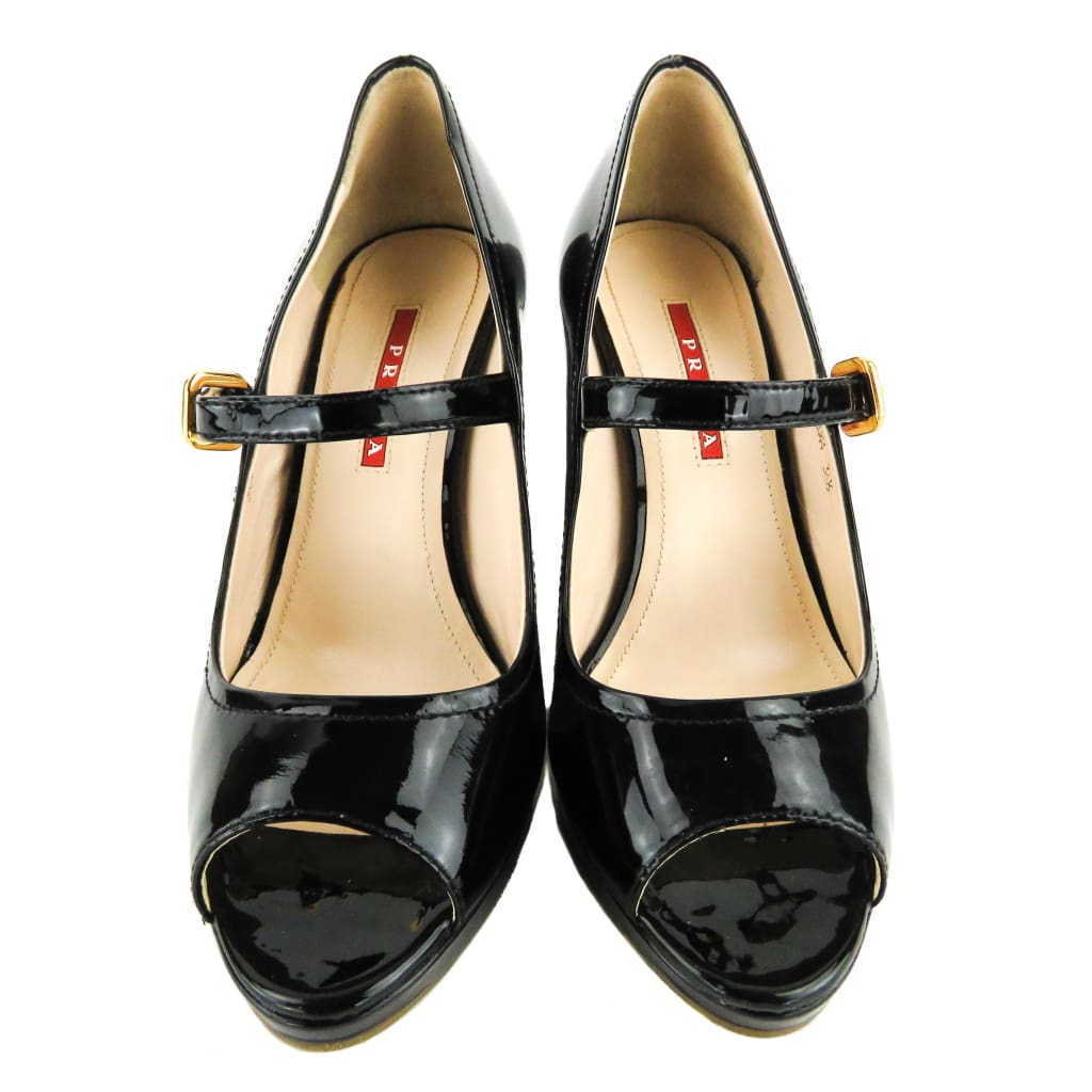 Prada Black Patent Leather Basket Weave Wedges - Wedges