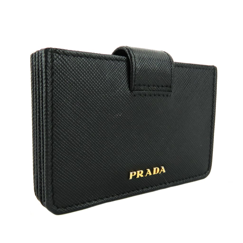 Prada Black Saffiano Leather Accordion Card Case Wallet - Wallet