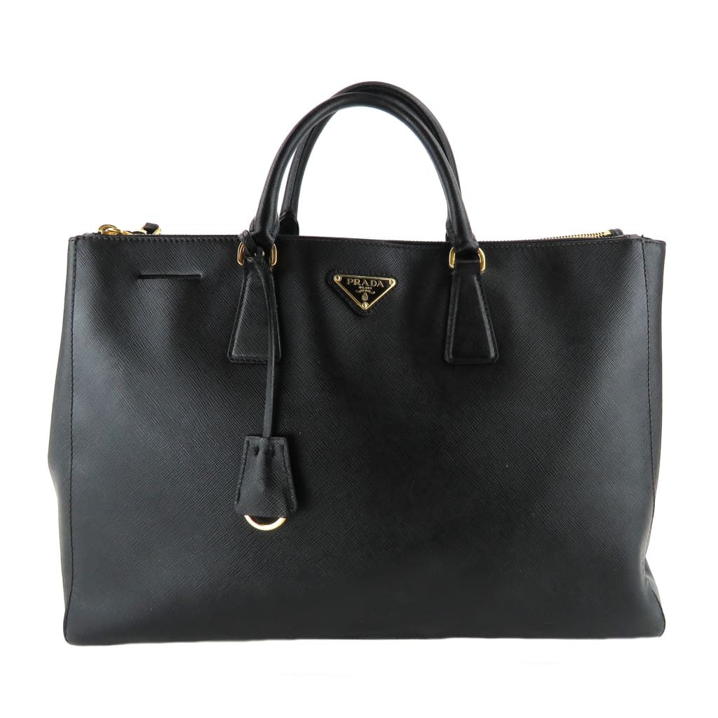 Prada Black Saffiano Leather Double Zip Large Tote Bag - Totes