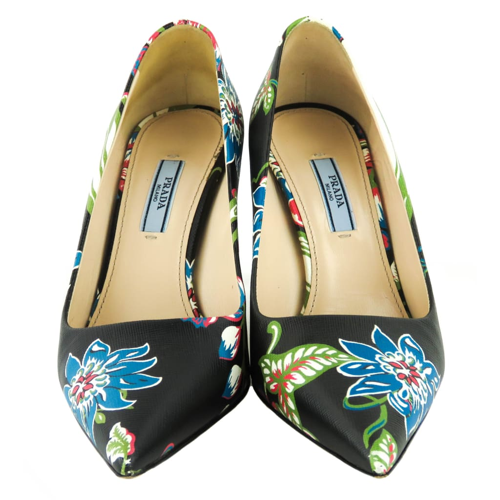 Prada Black Saffiano Leather Floral Print Pointed Toe Pumps - Heels