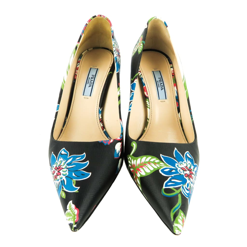 Prada Black Saffiano Leather Multicolor Floral Print Pointed Toe Pumps - Heels