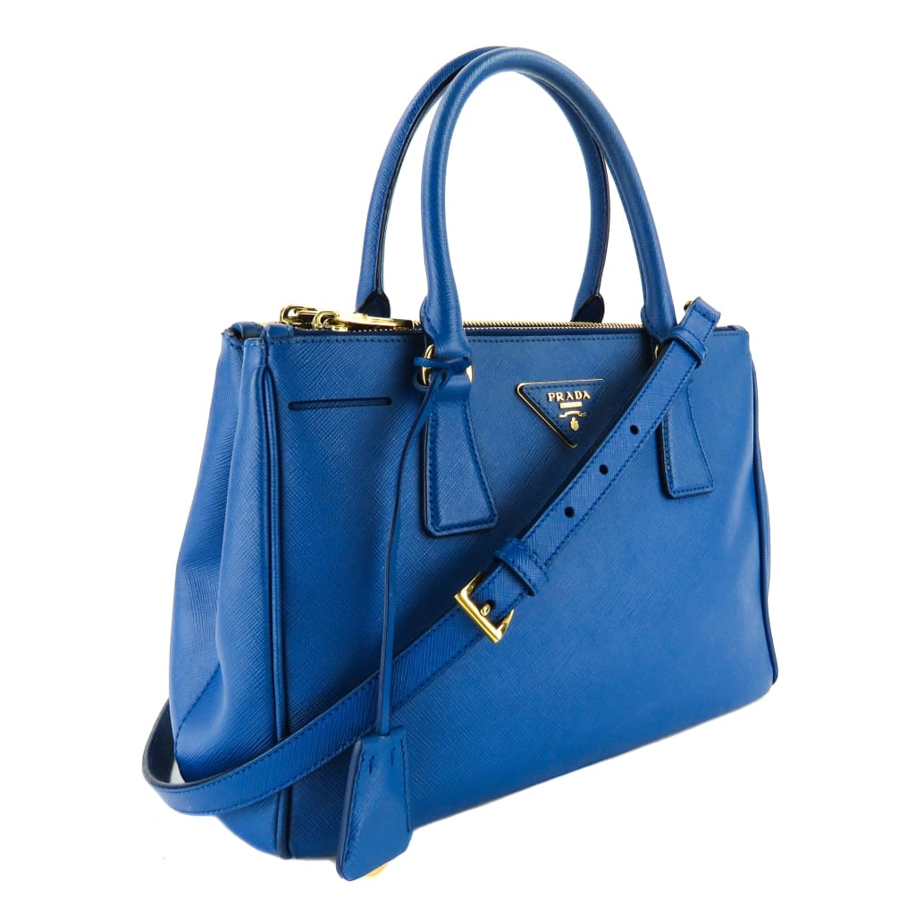 Prada Blue Saffiano Leather Lux Small Double Zip Satchel Bag - Satchels