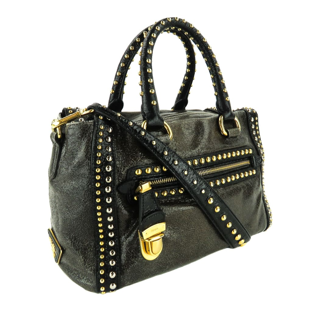 Prada Brown Craquelle Leather Studded Bauletto Satchel Bag - Satchels