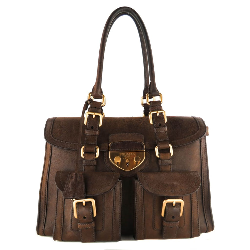 Prada Brown Leather Pattina Saddle Satchel Bag - handbags