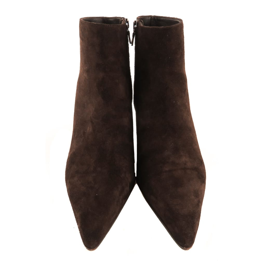 Prada Brown Suede Camoscio Ankle Booties - Bootie