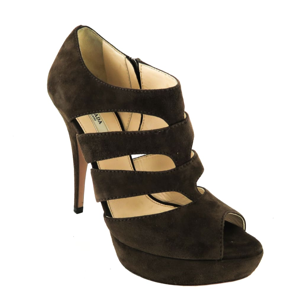 Prada Dark Brown Suede Open Toe Cut Out Pumps - Heels