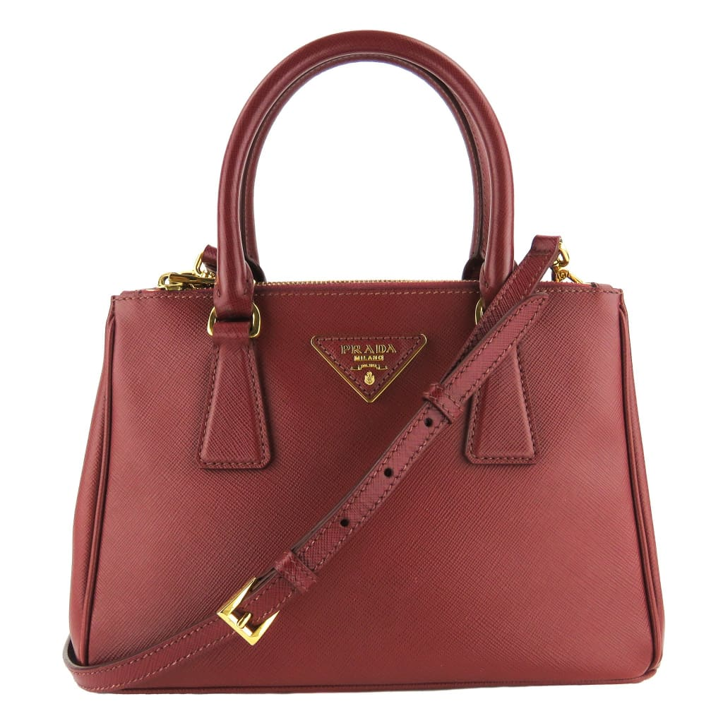 Prada Dark Red Saffiano Leather Mini Gallena Double Zip Tote Bag - Totes