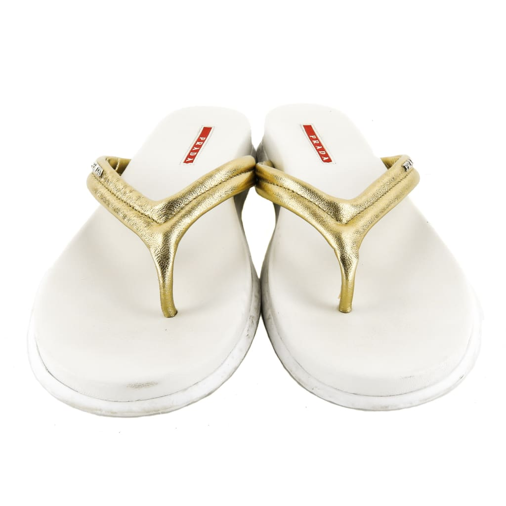 Prada Gold Metallic Leather Logo Thong Sandals - Sandals