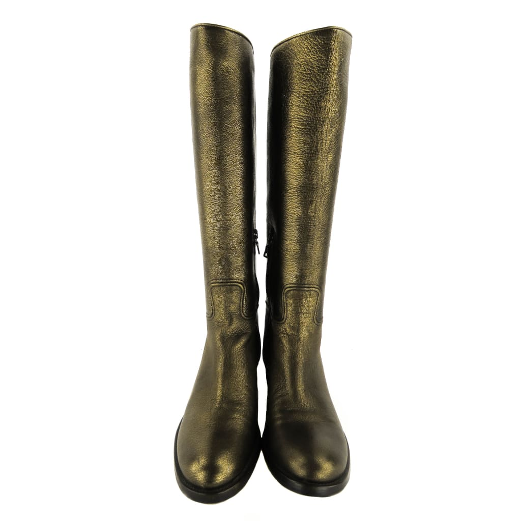 Prada Gold Metallic Leather Mid-Calf Boots - Boots/Rain Boots