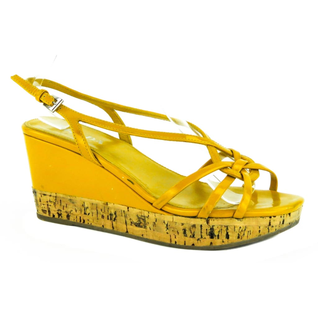 Prada Mustard Yellow Patent Leather Cork Sandal Wedges - Wedges