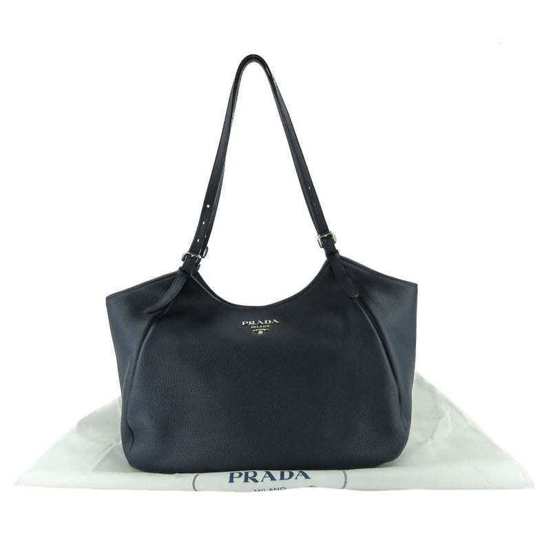 Prada Navy Blue Pebbled Leather Hobo Tote Bag - Totes