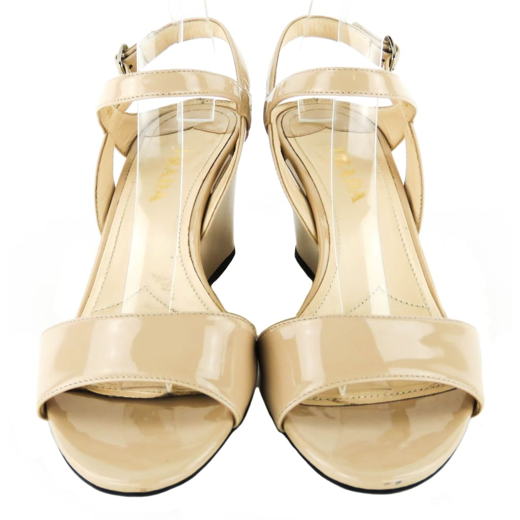 Prada Nude Patent Leather Cipriani Sandal Wedges - Wedges