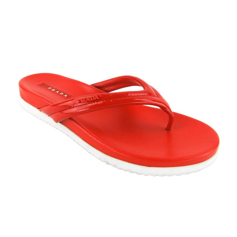 Prada Red Patent Leather Logo Thong Sandals - Sandals