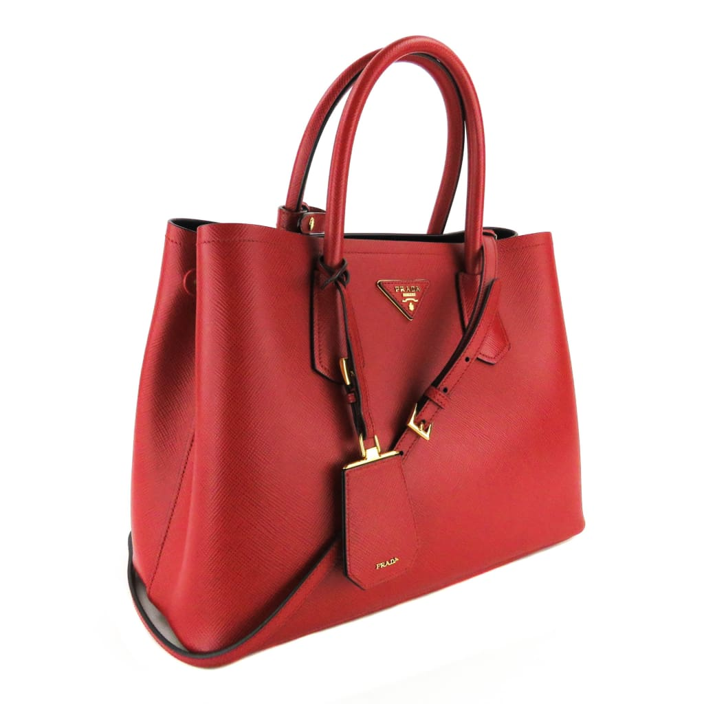 Prada Red Saffiano Leather Cuir Double Medium Tote Satchel Bag - Satchels