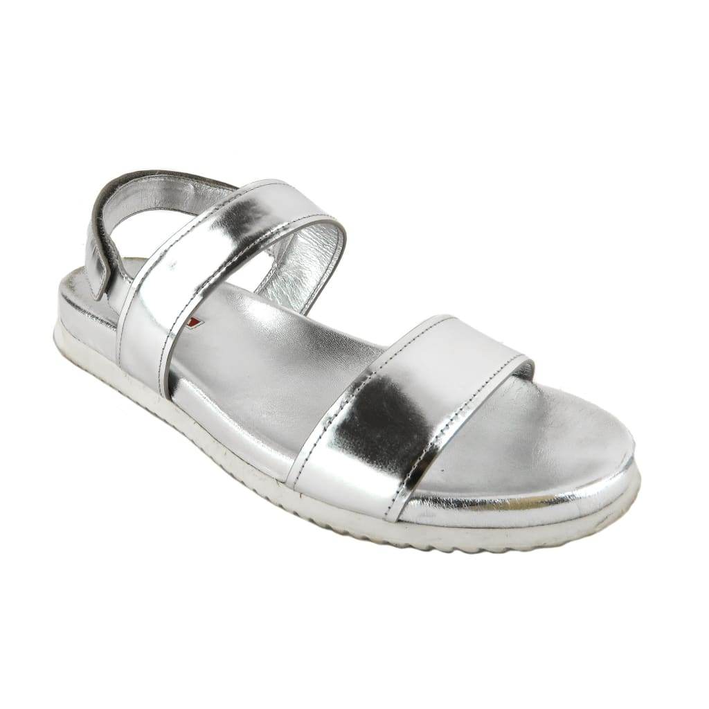 Prada Silver Metallic Leather Double Band Flat Sandals - Sandals