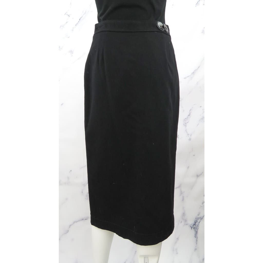 Prada Sport Black Wool and Cotton Size 4 Button Up Skirt - Skirt