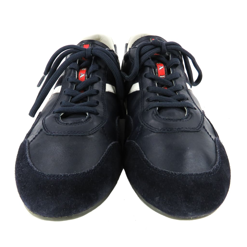 Prada Sport Navy Blue Leather Suede Lace Up Sneakers - Sneakers