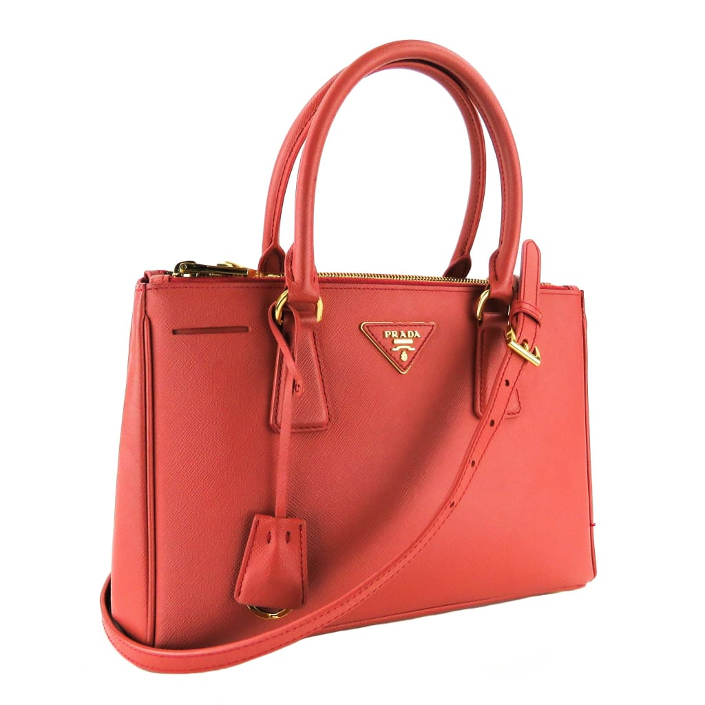 Prada Tamaris Pink Saffiano Leather Lux Small Double Zip Satchel Bag - Satchels