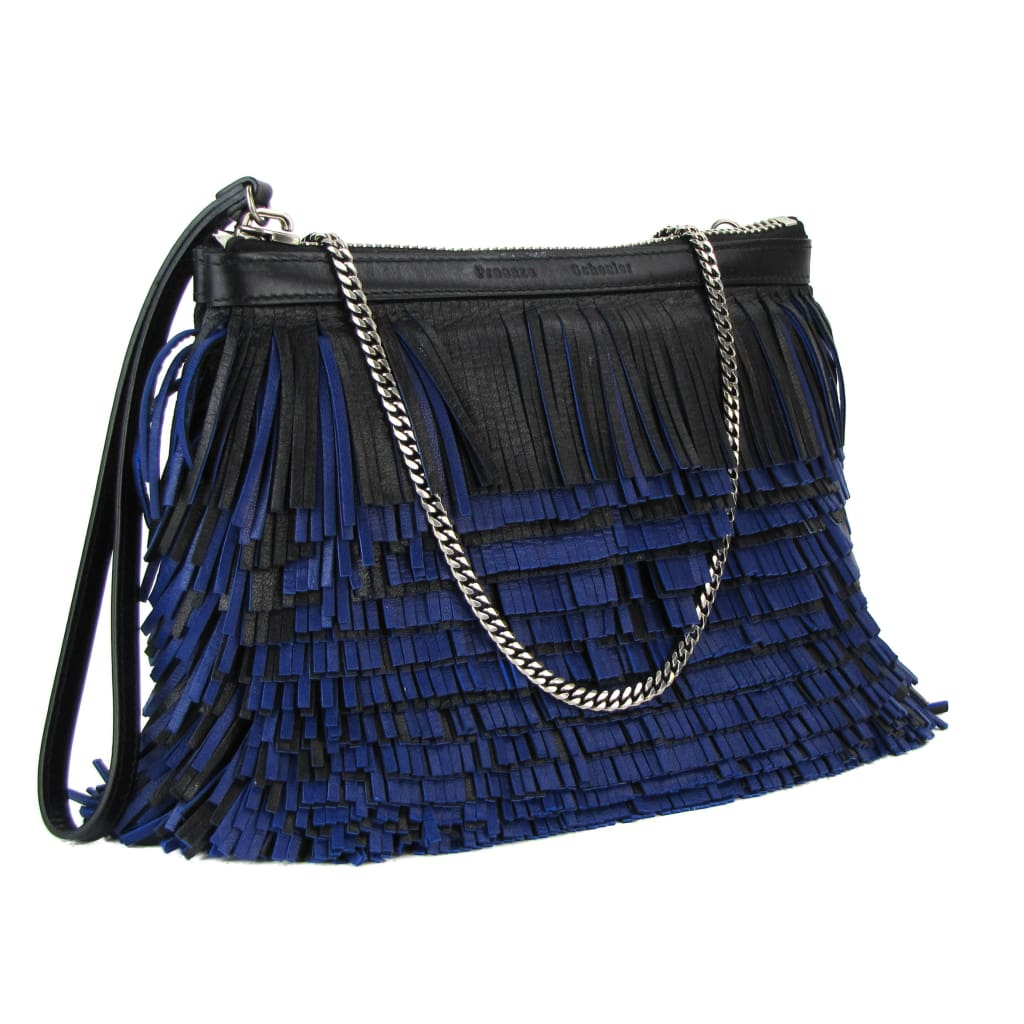 Proenza Schouler Blue and Black Leather Fringe Chain Clutch Bag - Clutches