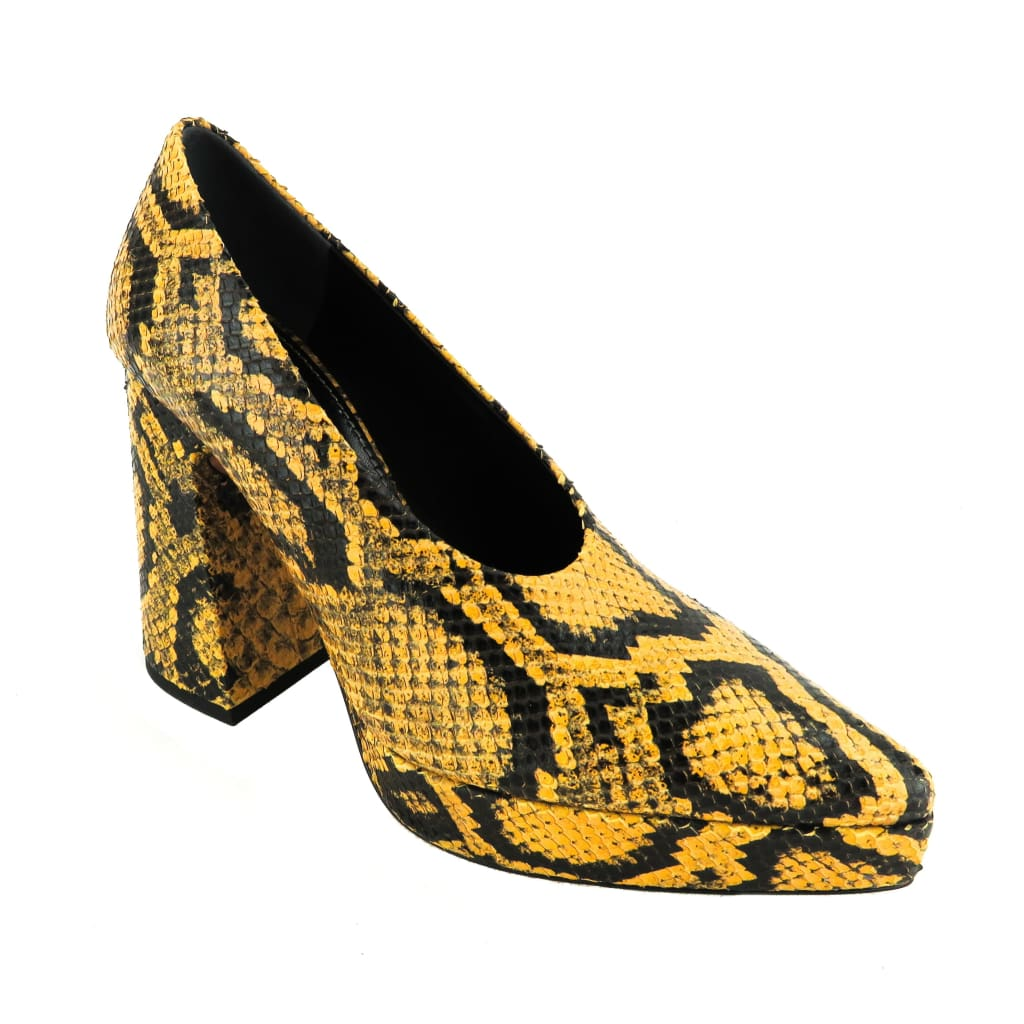 Proenza Schouler Yellow and Black Snake Embossed Leather Platform Pumps - Pumps