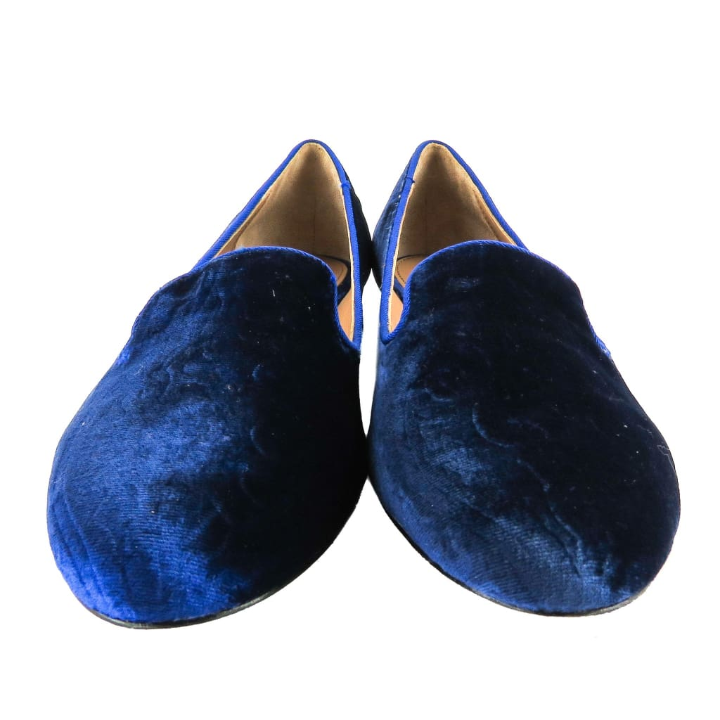 Rachel Zoe Blue Velvet Zahara Embossed Merlin Smoking Slippers - Flats