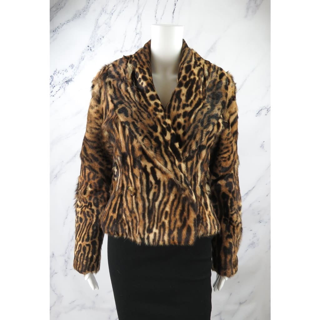 Ralph Lauren Collection Tan Ocelot Print Goat Fur Size 6 Jacket - Coat