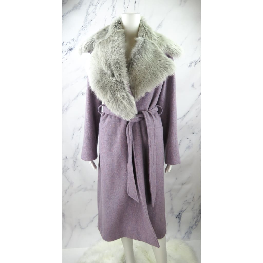 Ralph Lauren Lavender Purple Wool Dyed Lamb Shearling Size 4 Coat - Coat