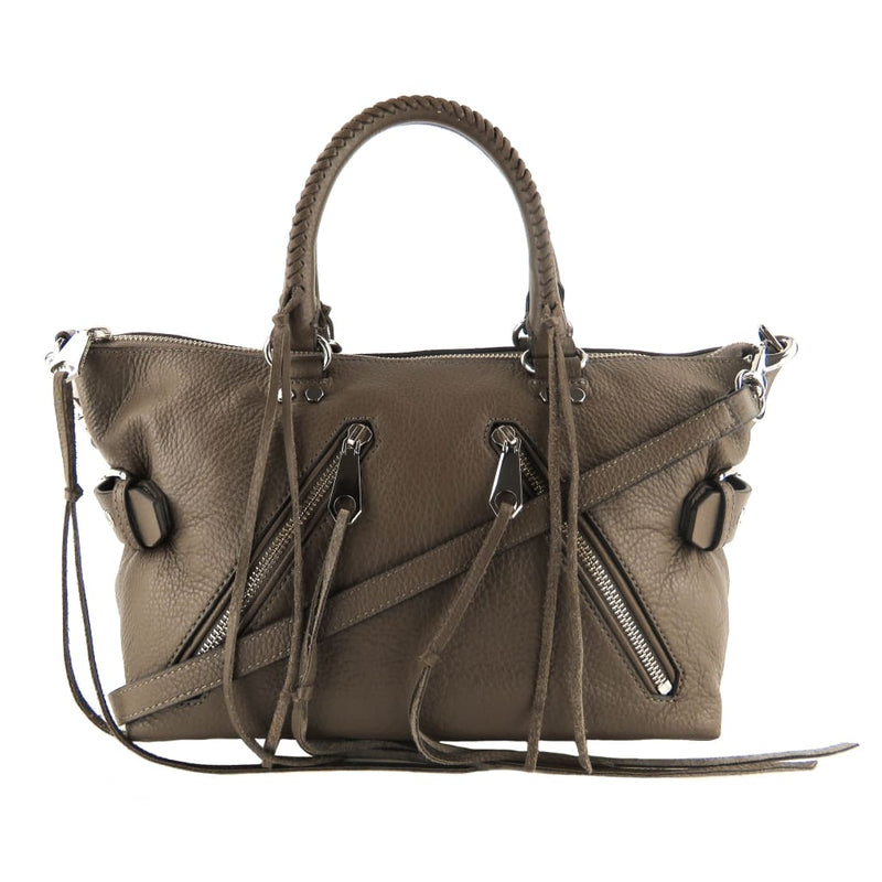 Rebecca Minkoff Taupe Leather Moto Satchel Bag - Satchels