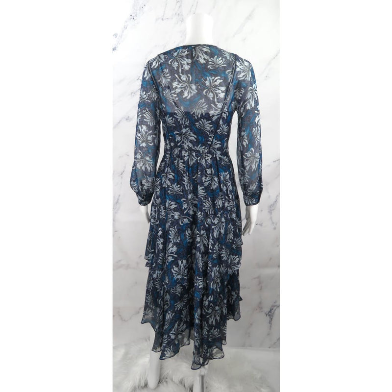 Rebecca Taylor Blue Silk Size Floral Print Longsleeve Dress - Dresses