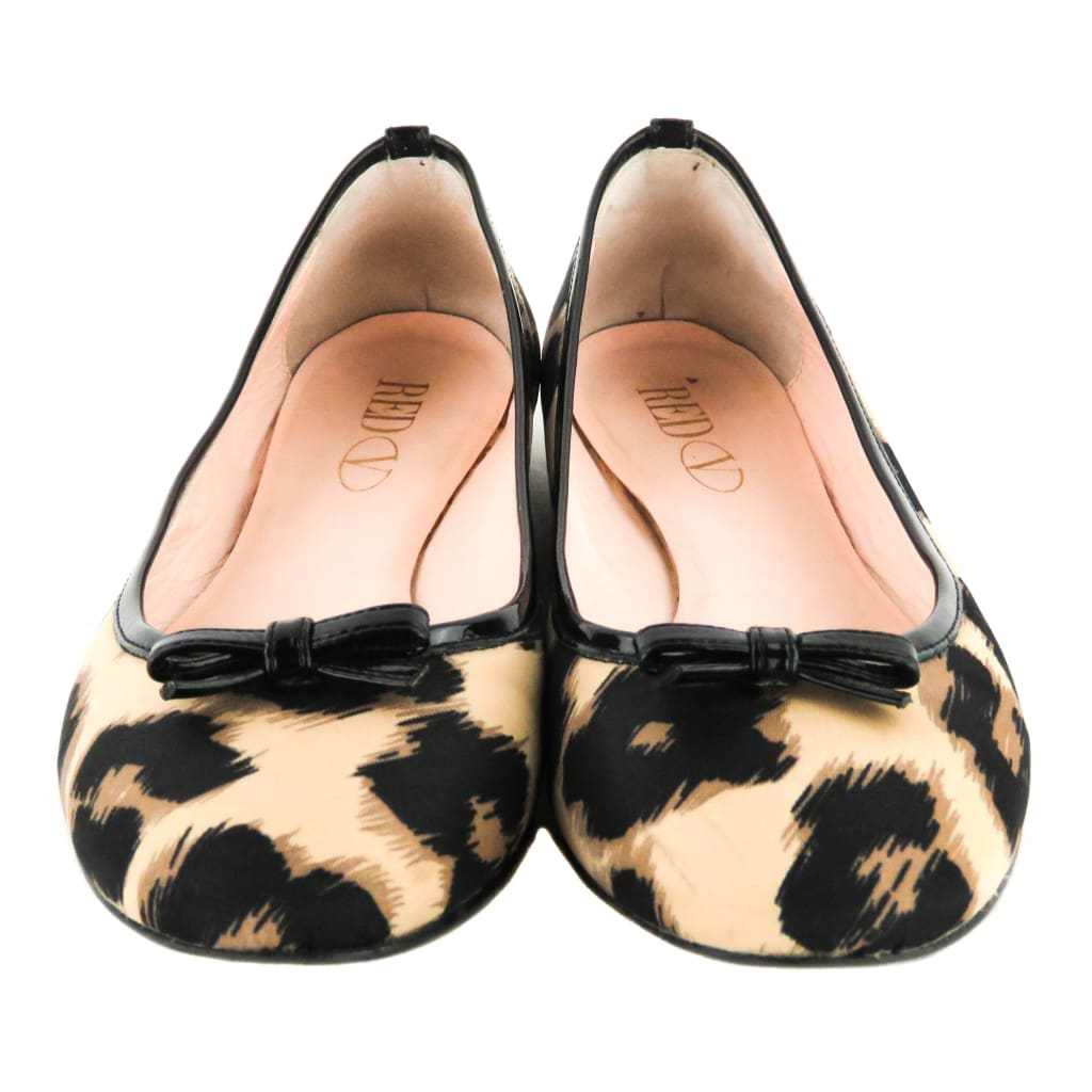 Red Valentino Beige and Black Canvas Leopard Print Ballerina Flats - Flats