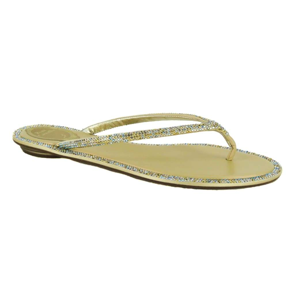Rene Caovilla Gold Leather Crystal Embellished Romantic Mix Thong Sandals - Sandals