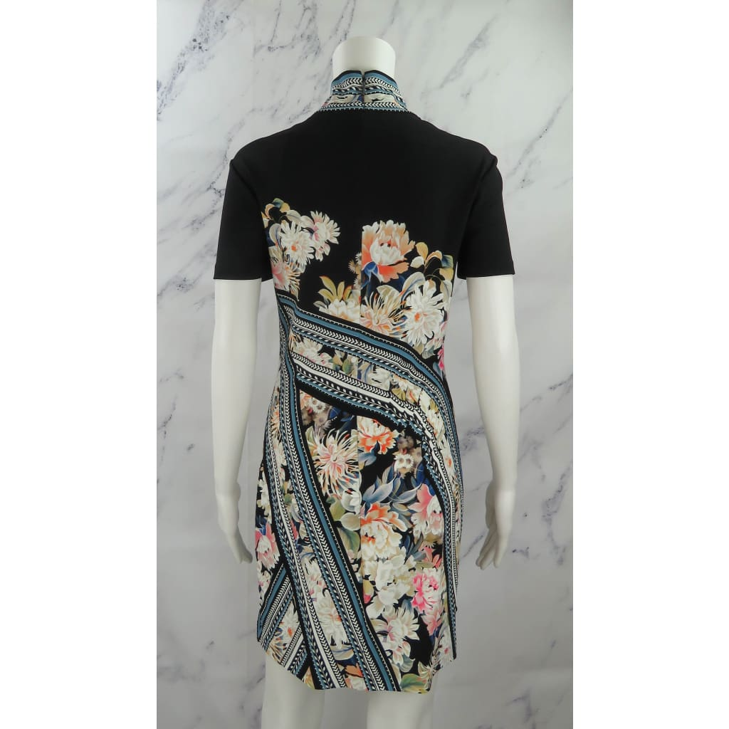 Roberto Cavalli Black Multicolor Rayon Size 42 Floral Print Short Sleeve Dress - Dresses