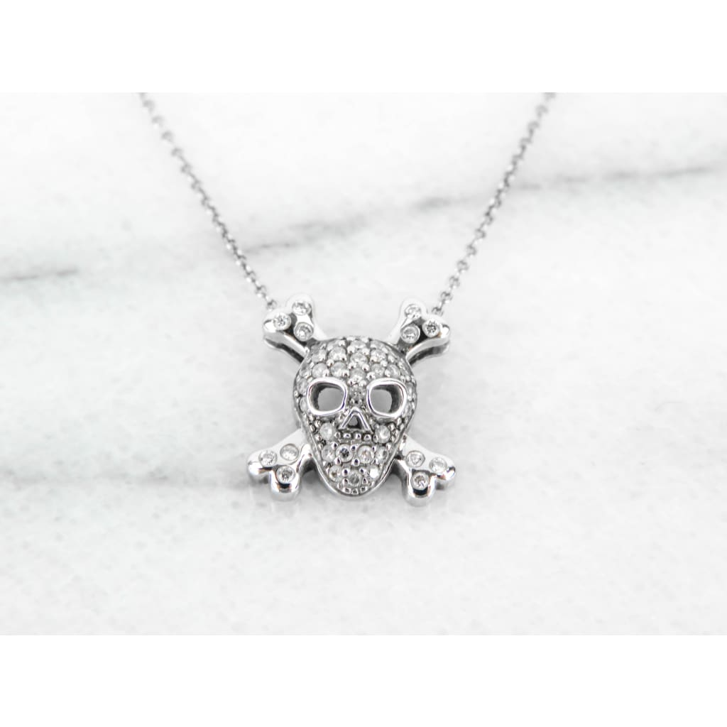 Roberto Coin 18K White Gold Skull & Crossbones Pendant Necklace - Necklace