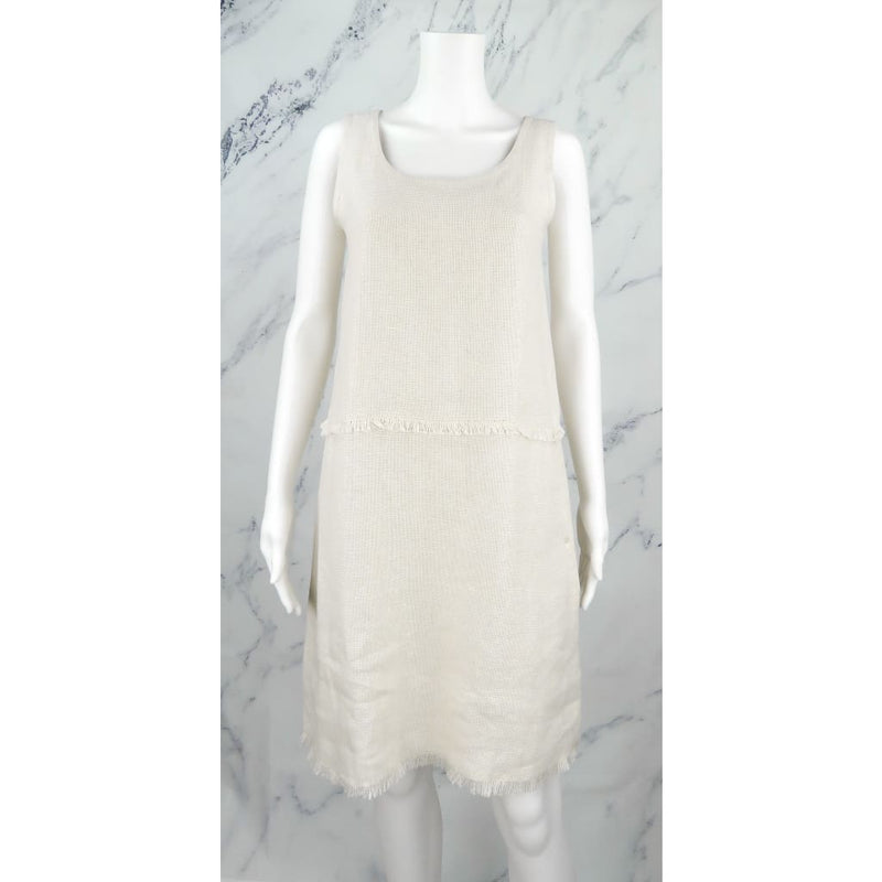 S Max Mara Beige Cotton Linen Size 2 Sleeveless Dress - Dresses