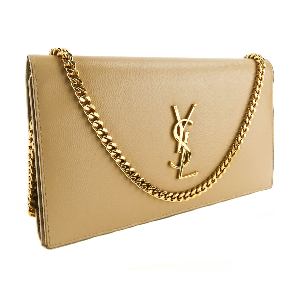 Saint Laurent Beige Leather Grain de Poudre Monogram Chain Wallet Shoulder Bag - Shoulder Bags