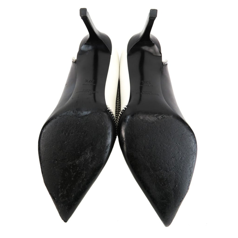 Saint Laurent Black and White Leather Paris 80 Zipper Pumps - Heels