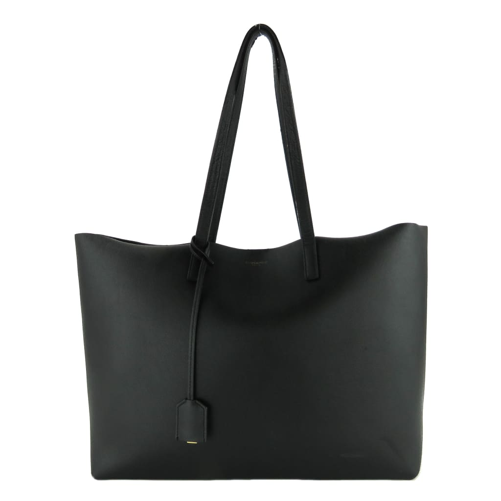 Saint Laurent Black Calfskin Leather East West Shopping Tote Bag - Totes